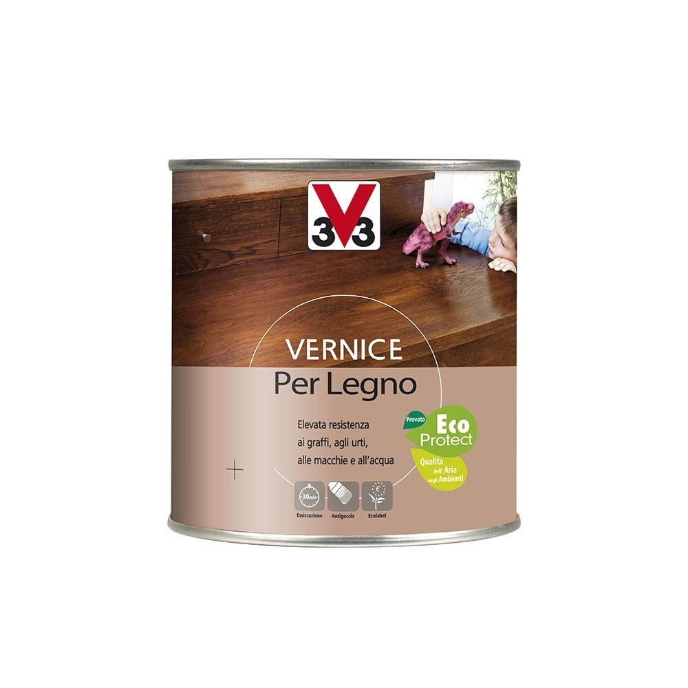 Vernici decorative per legno v33 vernice per legno brillante mogano 500ml bricoio - Vernice per finestre in legno ...