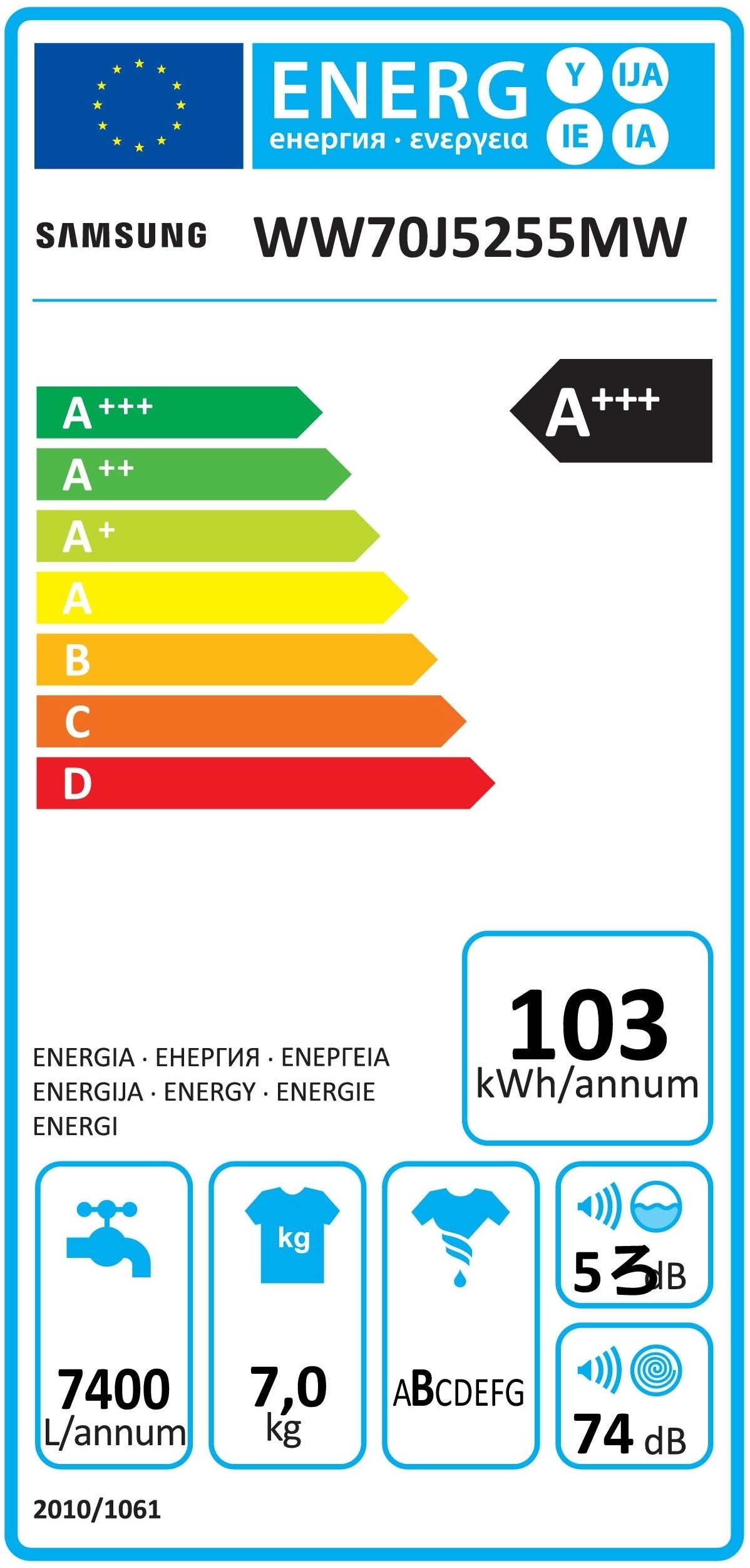 Samsung Lavatrici Carica Frontale WW70J5255MW - Expert official shop ...